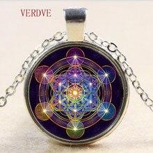 Метатронное ожерелье с подвесками-кубиками, Священная геометрия, цветок жизни, ювелирное изделие, духовная чакра, ожерелье, женское волшебное колье с гексаграммой