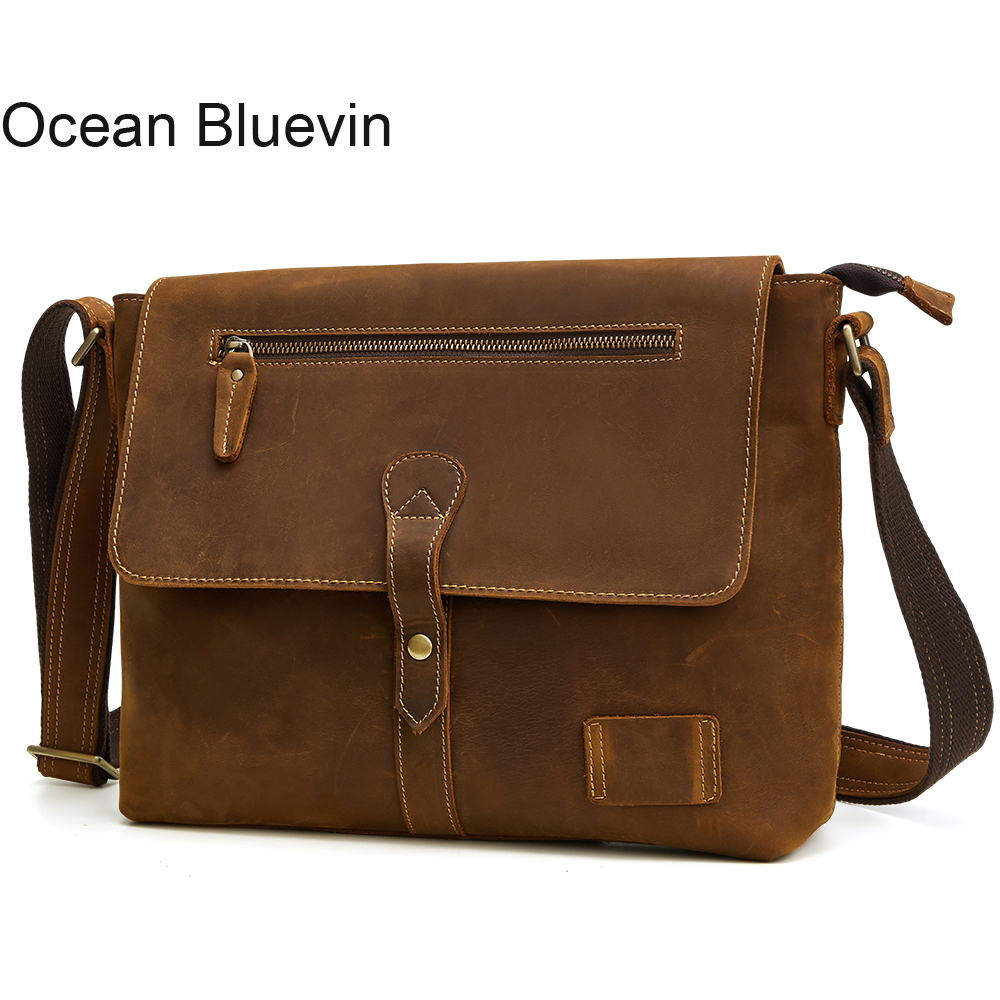 OCEAN BLUEVIN Vintage Crazy Horse Leather Suitcase Laptop Bag Genuine Leather Men's Business Bag Leather Shoulder Bag Crossbody