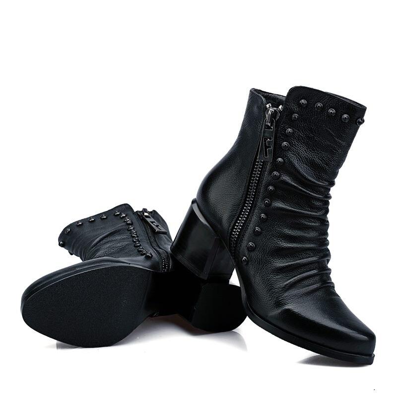 Noir Talons Chaussures Qualité Automne Zip Bottes Neuf Rond Véritable De Haute Épais Femmes Asumer Rivets Cheville En Bout Hiver 2018 Cuir Pleine I1Panxpq