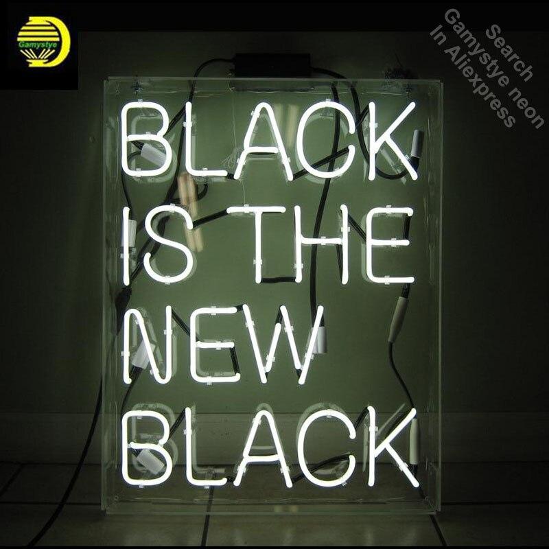Enseigne au néon pour le Noir Est le Nouveau Noir Ampoule Au Néon signe Maison Affichage À La Main En Verre tube néon lumière Signe personnalisé néon accessoires