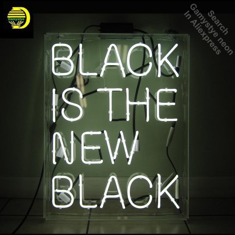 все цены на Neon Sign for Black Is the New Black Neon Bulb sign Home Display Handmade Glass tube neon light Sign custom neon accessories