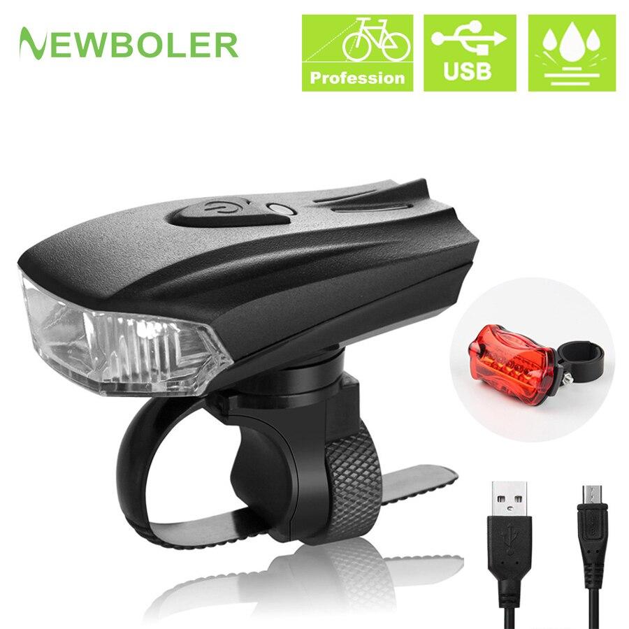 NEWBILER 800 Lumen Smart Road Bike Front Light USB Induction Flashlight For Bicycle German Standard MTB Bike Rear LED Lights Kit