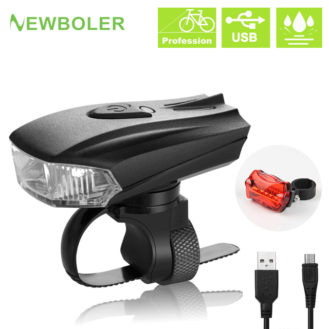 NEWBILER 800 Lumen inteligente bicicleta de carretera frente USB Luz de linterna para bicicleta estándar alemán bicicleta MTB bicicleta trasera luces LED kit de
