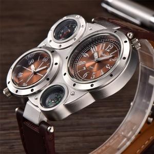 Image 5 - Oulm unikalne sportowe męskie zegarki Top marka luksusowe 2 strefa czasowa zegarek kwarcowy dekoracyjny kompas męski zegarek na rękę