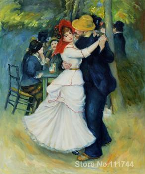 french impressionists Dance at Bougival Art by Pierre Auguste Renoir oil painting reproduction High quality Hand painted
