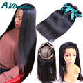 360 Lace Frontal Closure with Bundles 7A Brazilian Vrign Hair Straight 3 Bundles with 360 Lace Frontal Human hair on sale