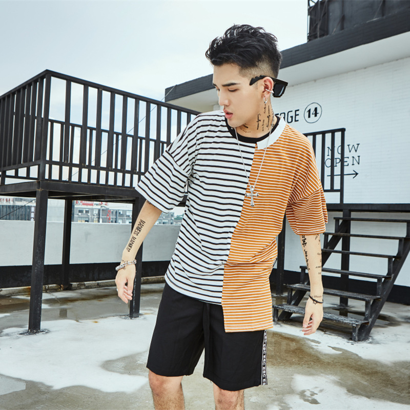 4438a4272 Men Tshirt Summer clothing stripe Streetwear patchwork Men T shirts tee  Skateboard Tee Boy Skate Tshirt Fashion Casual Style -in T-Shirts from Men's  ...