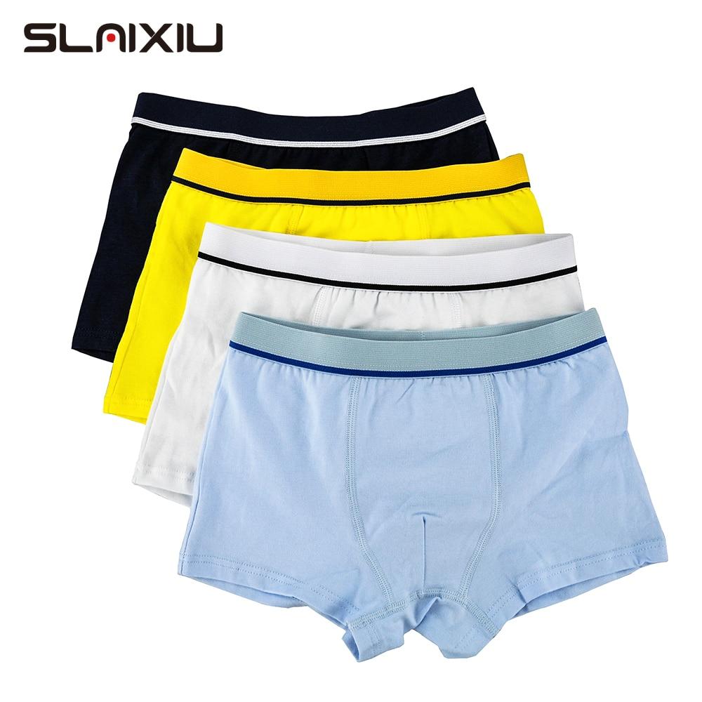 4 Pcs/Lot Organic Cotton Kids Boys Underwear Pure Color Babys Shorts Panties Boys Boxer Children's Teenager Underwear 3-12 Year