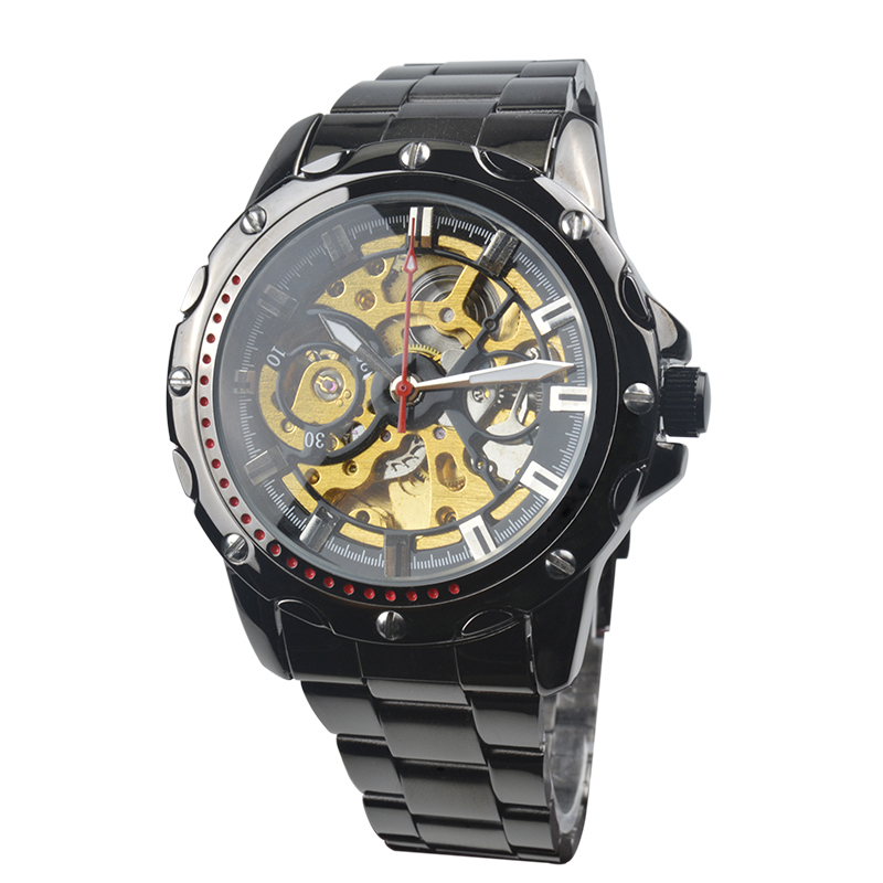 New Men's Business&Casual Watch Self-wind Auto Mechanical Analog Skeleton Wristwatch Stainless Steel Strap Life Waterproof women favorite extravagant gold plated full steel wristwatch skeleton automatic mechanical self wind watch waterproof nw518