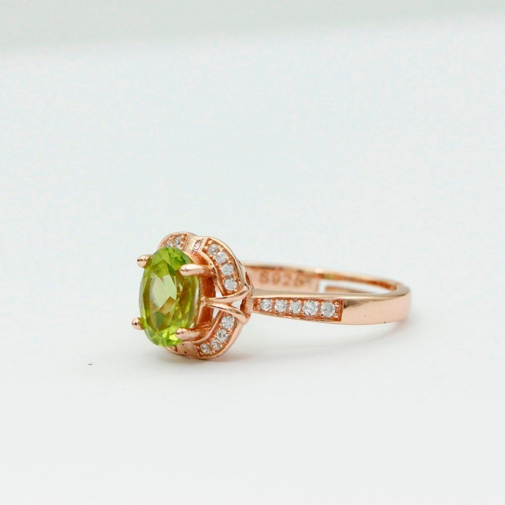 LASAMERO 8 * 6mm Peridot obljetnica prsten Gemstone Solid 925 - Fine nakit - Foto 2