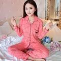 2017 New Women Pajamas Set 100% Cotton Pajamas Pijamas Spring And Autumn Girl Long Sleeve Sleepwear Night Suits Plus M-XXXL