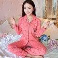 2017 Novas Mulheres Pijama Set 100% Algodão Pijamas Pijamas Primavera E No Outono Menina Manga Longa Sleepwear Ternos Noite Plus Size M-XXXL