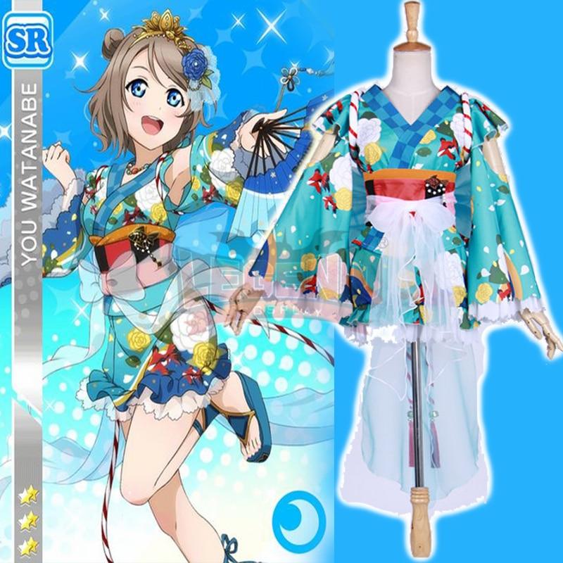 Здесь продается  Cosplay legend Love Live! Sunshine cosplay Aqours You Watanabe Yukata Ver Awakened cosplay adult costume  full set all size  Одежда и аксессуары