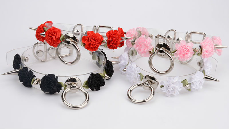 Handmade Kawaii Choker Punk Gothic Rose Collar Necklace Flowers Tranparent Faux Leather Spiked Collar Choker Buckle Necklace 10
