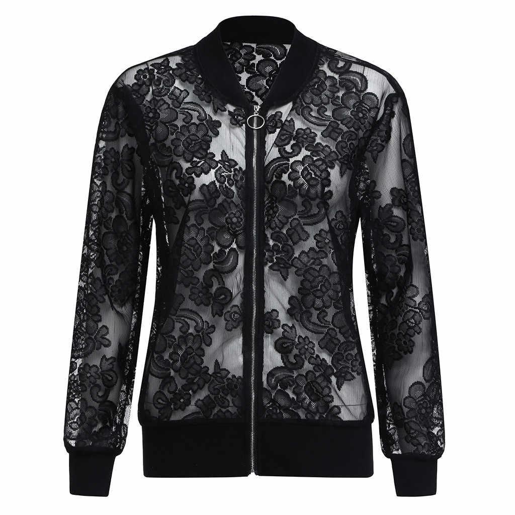 Kurtka bomber kobiety płaszcze i kurtki kobiety z długimi rękawami zamek czarny kurtka na co dzień 5XL koronki szal okładka chaqueta mujer 2019