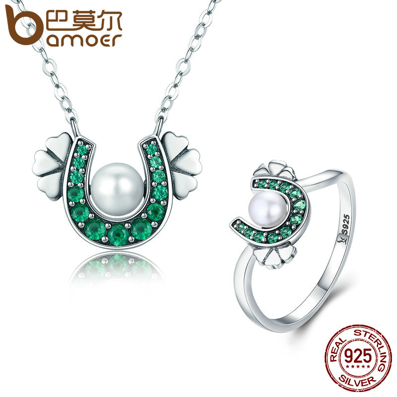 BAMOER Authentic 925 Sterling Silver Horseshoe Clover Pendant Necklace & Ring Jewelry Set Wedding Engagement Gift