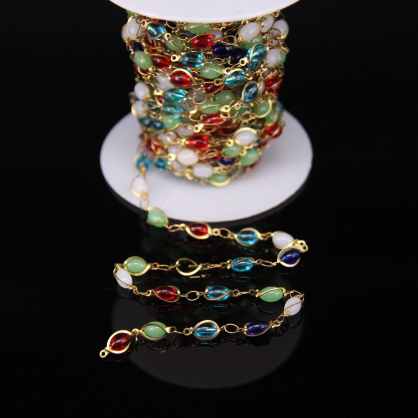 4x6mm,Multicolor Glass Rice beaded Copper Bronze Chain,Colorful Stone Bezel Connector Brass Wire Wrapped Rosary Chain Crafts скатерть bon appetit rokoko цвет зеленый 145 см x220 см