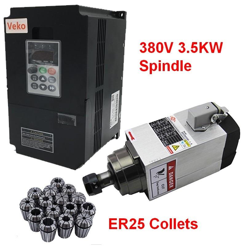380V 3 5KW 5HP Square Spindle Motor Air Cooled 4 Bearings 4kw VFD inverter ER25 Collet