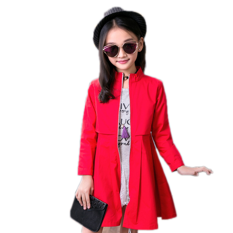 Kids Trench For Girls 2018 New Spring/Autumn Trench Girls Jackets Outwear Windbreaker kids Jacket Teenager Clothes Plus Coat black trench outwear self tie waistband