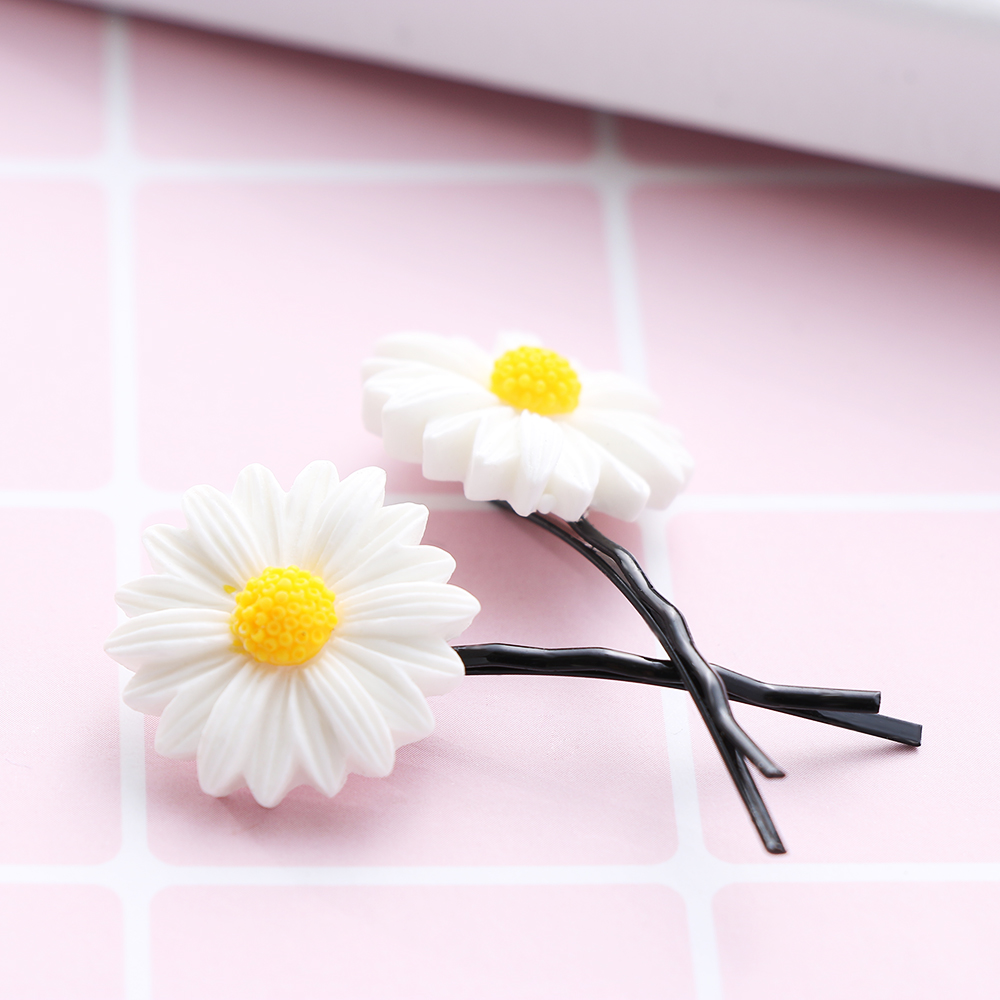 2Pc Mini Daisy Hair Clip Charms Flower Elastic Hair Ring Rope Bands HairPins Ponytail Girls Kids Holder Haie Styling Accessories