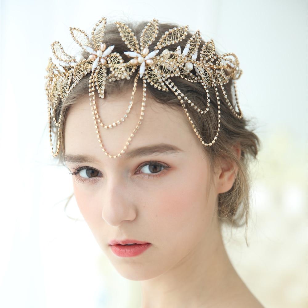 Or Boho feuille couronne mariage bandeau strass mariée cheveux vigne accessoires femmes bijoux casque