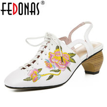 FEDONAS Classic Vintage Flowers Women Pumps 2019 Summer New Genuine Leather Sandals Shallowed Round Toe Shoes Woman Casual Shoes(China)
