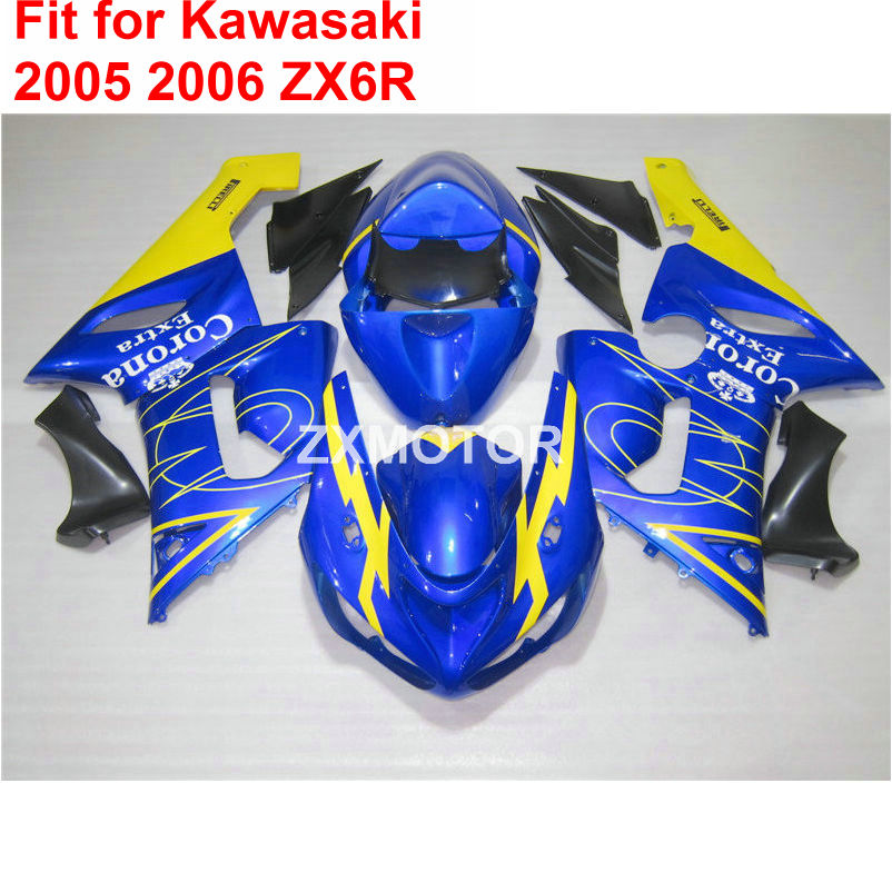 Aftermarket body parts fairings for Kawasaki ninja ZX6R 2005 2006 blue yellow motorcycle fairing kit ZX6R 05 06 TY42 hot sales for bmw k1200s parts 2005 2006 2007 2008 k1200 s 05 06 07 08 k 1200s yellow bodyworks aftermarket motorcycle fairing