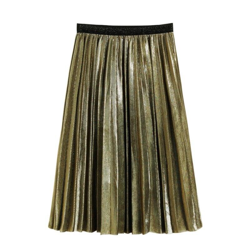 e104c21f1c ETOSELL Spring Summer Girls Skirts Women Metallic Silver Skirt Midi Skirt  Casual High Waist Metallic Pleated