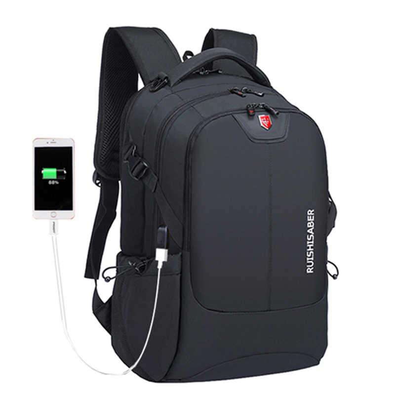 العلامة التجارية السويسرية 17 بوصة محمول على ظهره الرجال USB شحن حقيبة السفر حقيبة مدرسية النايلون مقاوم للماء حقائب النساء على ظهره Mochila