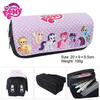 My little Pony Double Zipper Pencil Bag Unicorn Pencil Case Kids Girl Boy School Gift Stationery Container School Supplies