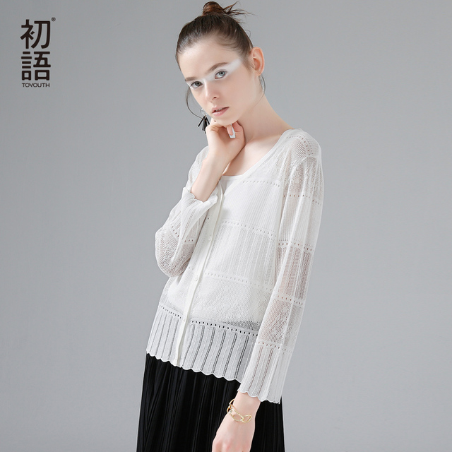 Toyouth Knitted Sweater 2017 Spring New Women Casual Solid Color Hollow Out Long Sleeve Pullover Sweater