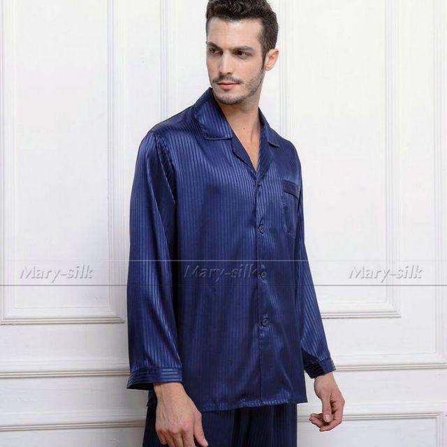 Mens De Satén de Seda Pajamas Set Pijama pijama PIJAMA Conjunto ropa de Dormir Loungewear S ~ 4XL Rayas _ _ Para Toda La Temporada