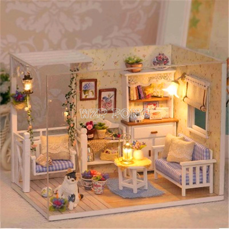 Doll House Furniture Kits Assemble DIY Wood Dollhouse Miniature with LED+Furniture+Dust Cover Doll House Room Birthday Gift