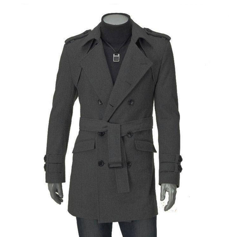 2018 New Autumn Winter Wool Coat Men Fashion Turn-down Collar Wool Blend Double Breasted Jacket Overcoats With Belt Sashes6Q2207