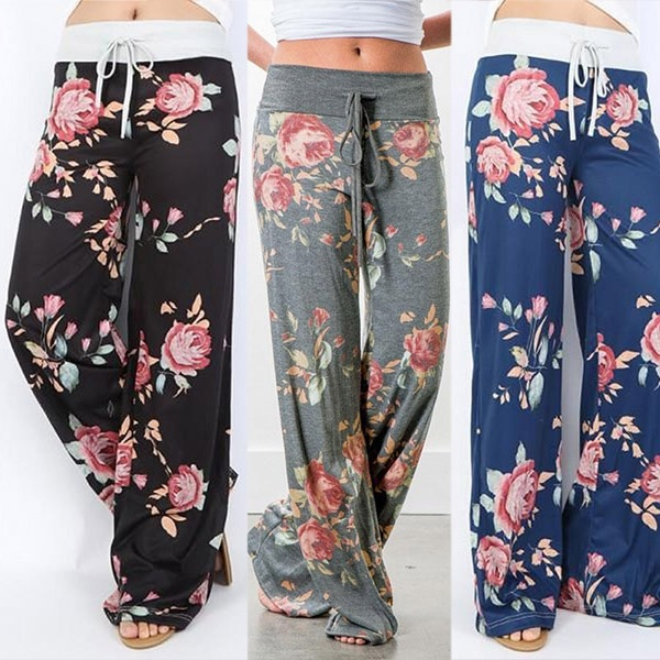 women fashion womens floral print casual printed loose trousers love  female pants holiday