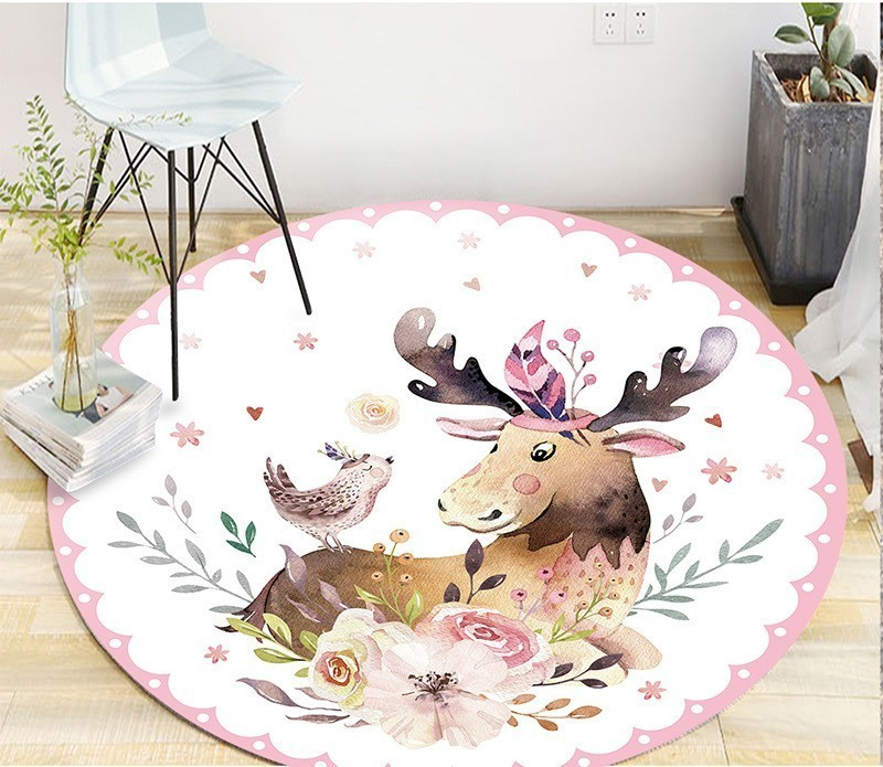 3 Sizes Modern Home Decorative Round Carpet Fashion Cartoon Pictures Printed Round Area Rugs Parlor Bedroom Floor Mat Anti-slip