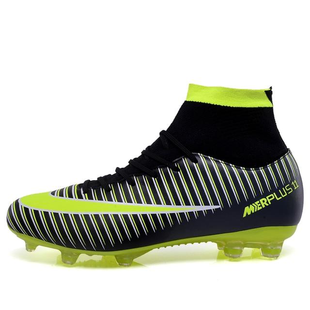 ebb12045fe46d أحذية كرة القدم للرجال عالية المرابط لكرة القدم الأصلي مع الجوارب المهنية كرة  القدم التمهيد لكرة