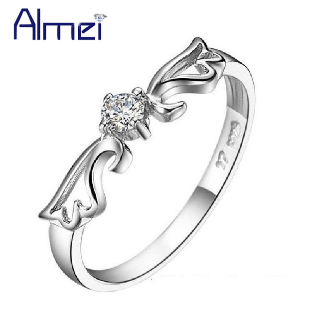 Fashion Crown Rings for Women Lady Jewelry CZ Zircon Anel Bague Femme Anillos Mujer Silver Wedding Ring 2016 Vintage Aneis J001