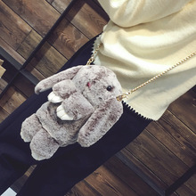 2017 Rabbit Faur Fur Leather Chain Bag Female New Winter Grass Bag Shoulder Bag Rabbit Cute  Women Girl Crossbody Bag Kawaii