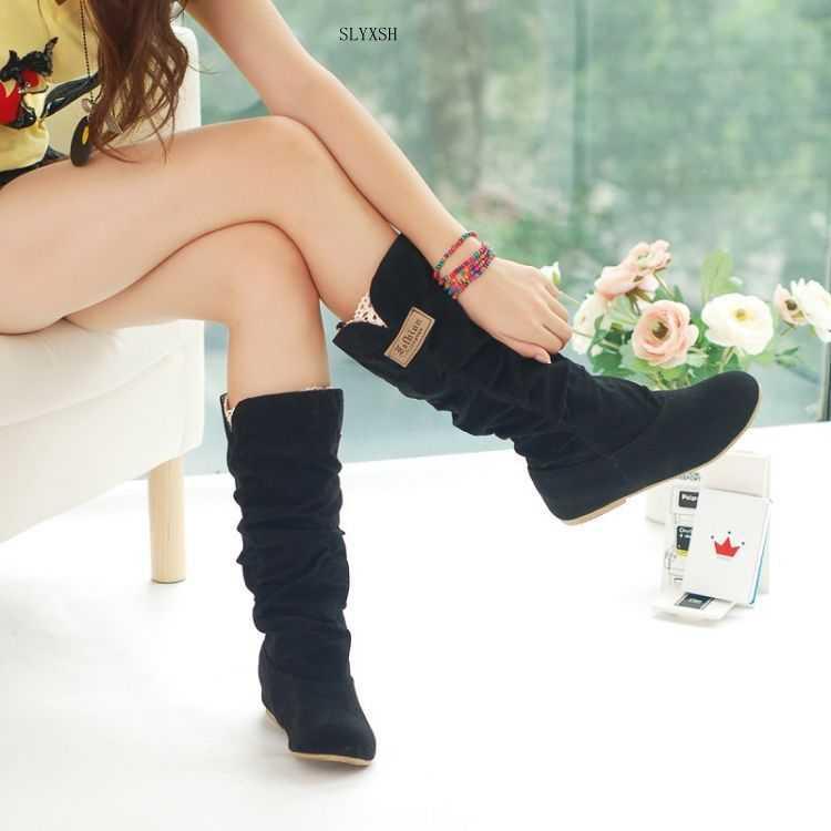새로운 패션 여성 부츠 봄 겨울 검정과 갈색 부츠 패션 신발 플랫 품질 스웨이드 긴 부츠 여성 신발