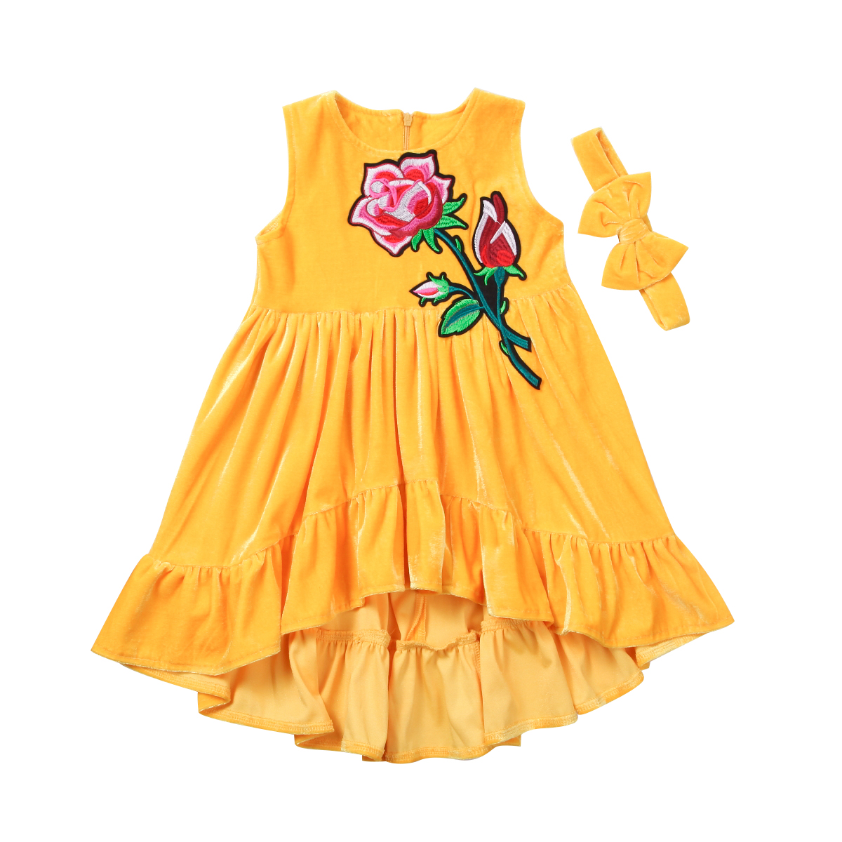2Pcs Fashion Summer Lovely Baby Girl Party Floral O-neck Cotton Dress Headband Ruffle Sleeveless Beach Dresses Outfits Clothes 2017 floral baby girl clothes summer sleeveless flower romper bodysuit ruffles halter jumpsuit headband 2pcs outfits sunsuit
