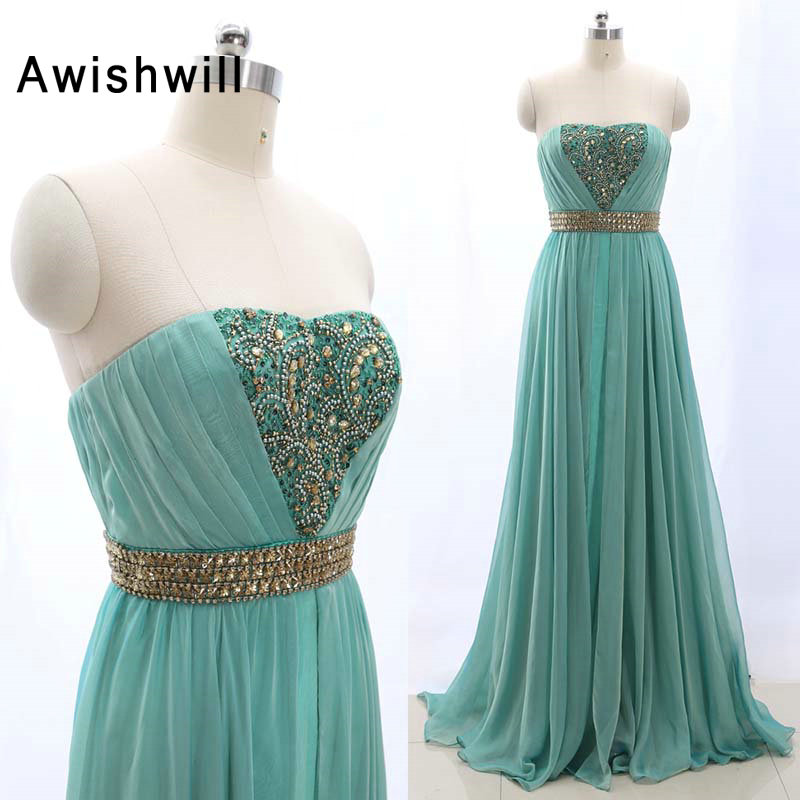 Floor Length Women Formal   Evening     Dress   Strapless Beaded Chiffon Real Photo Elegant Wedding Party   Dress   Plus Size