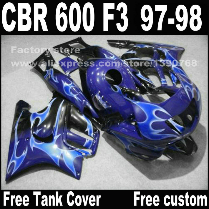 Motorcycle parts for HONDA CBR 600 F3 fairings 1997 1998 CBR600 F3 97 98 dark light bue fairing kit plastic sets waterproof bag with earphone