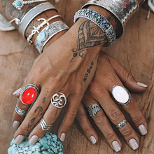 7 Pcs/Set Antique Silver Bohemian Midi Ring Set Vintage Steampunk Anillos Knuckle Rings For Women Boho Jewelry Red Big Stone tocona vintage antique silver big black rhinestone ring ethnic flower carving ring set steampunk knuckle ring women jewelry 4174