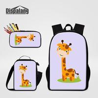 Cartoon Giraffe Bear Tiger Unicorn Animals Printing Backpack Pencil Case Lunchbox 3 PCS Set For Student Boy Girl School Bookbags