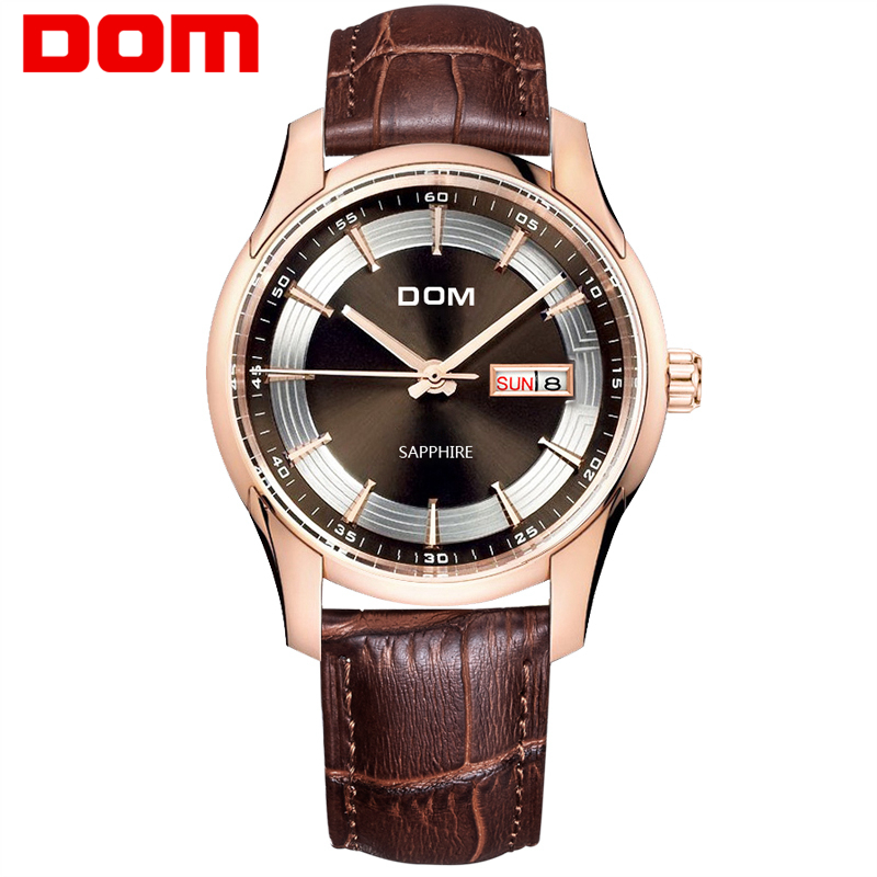 DOM Mens Watches Top Brand Luxury Quartz Watch Men Casual Brown Leather Waterproof Business Wrist Watch Relogio Masculino M-517
