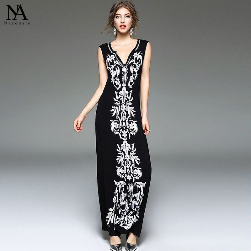 New Arrival 2018 Summer Womens Sexy V Neck Sleeveless Embroidery Floral High Street Casual Cotton Long Dresses with Plus Sizes