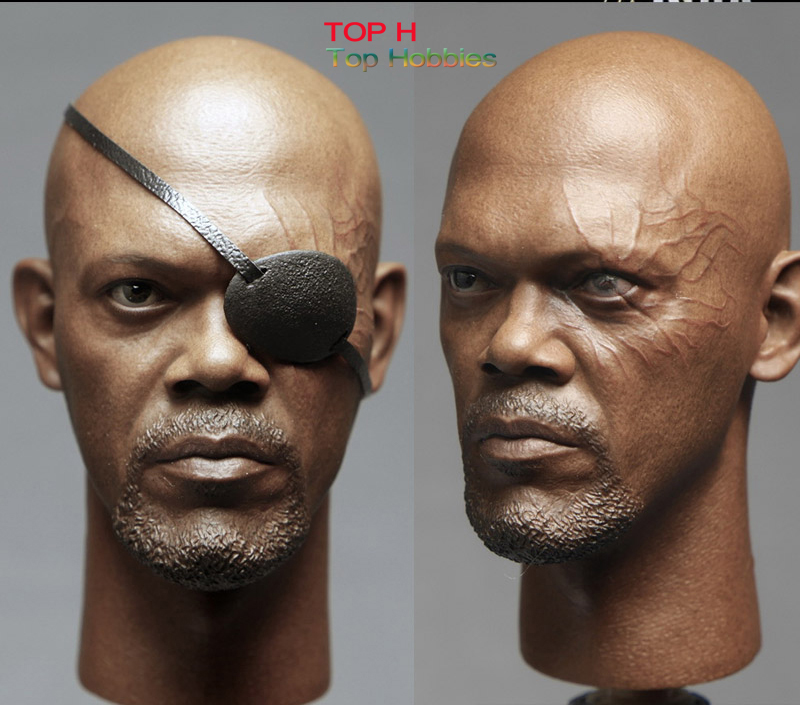 Custom 1/6 Scale Nick Fury 2.0 Head Sculpt With Eye Mask For 12 Inch Phicen HotToys Body Action Figures die shi spot burning the soul of a model burns 1 6 head carved figures are base contains mask