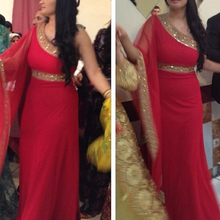 Custom Made One Long Sleeve Red Prom India Saree With Gold Belt New Arrive Arabi
