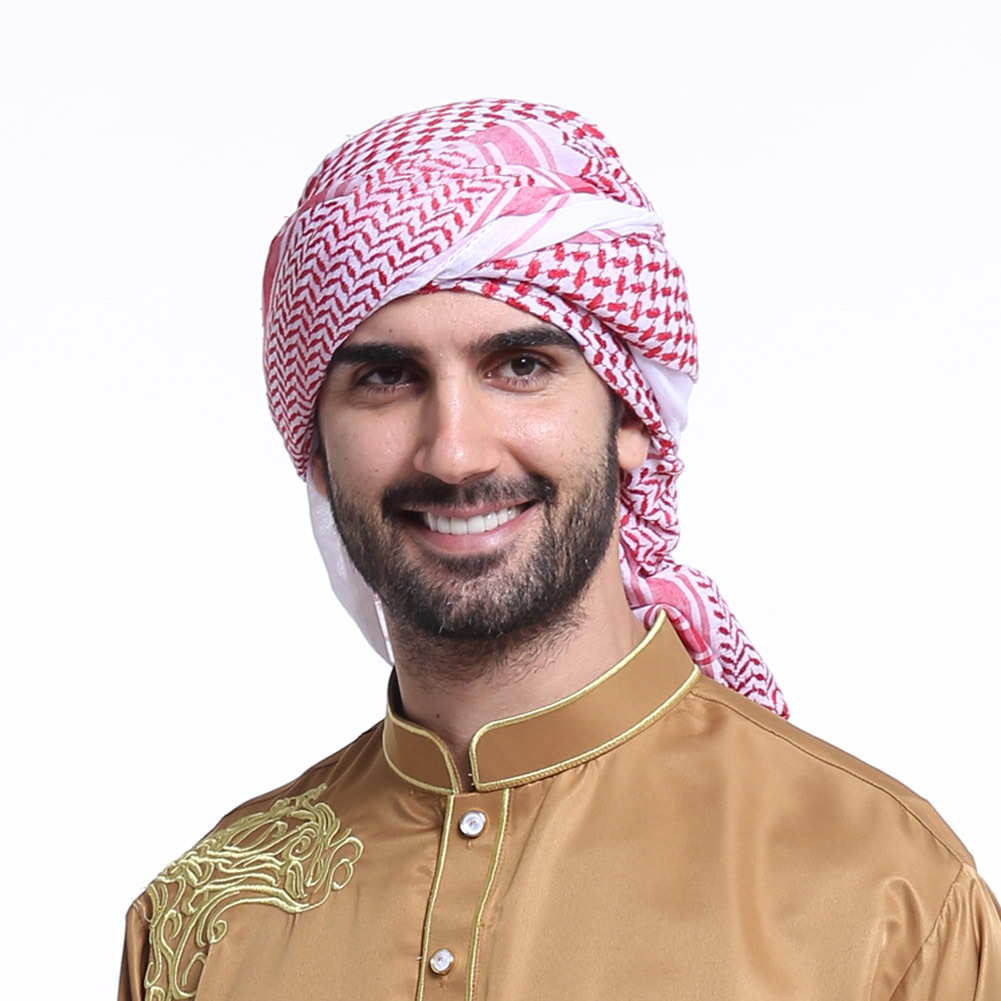 Fashion Muslim Men Prayer Hat/cap Saudi Arabia Men's Scarf Islam Turban Men Scarf Head Plaid Hijab Luxury 2019 Pink Shawl